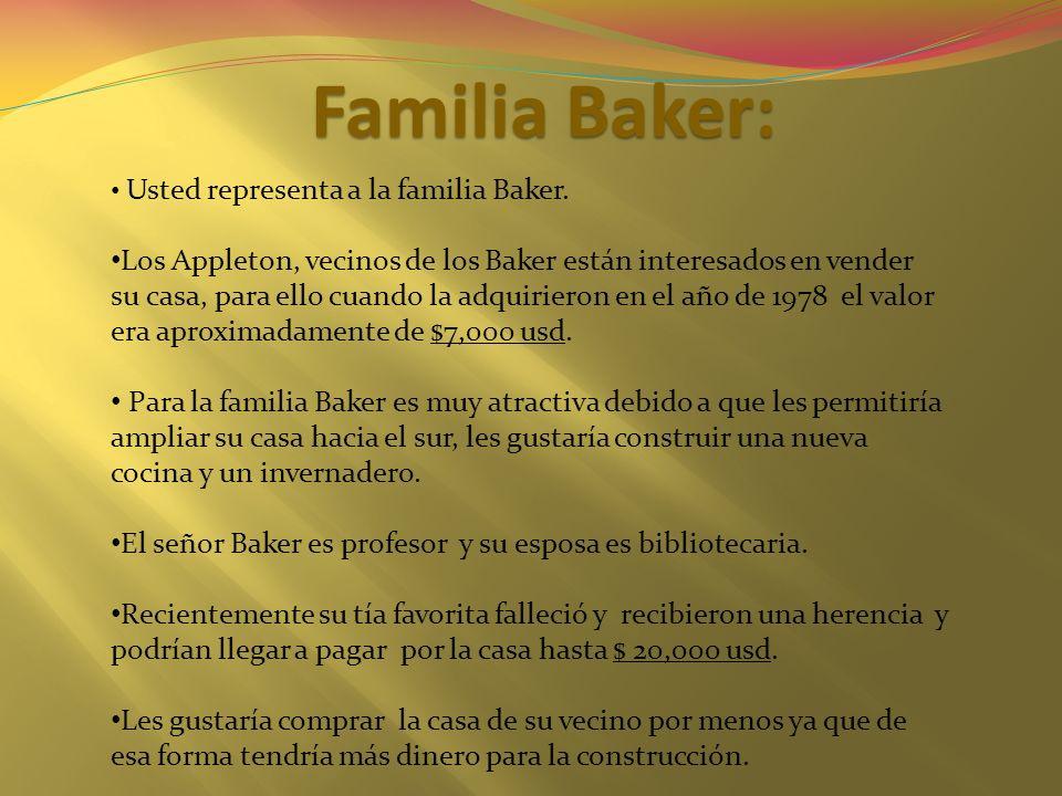 Familia Baker: Usted representa a la familia Baker. Los Appleton, vecinos de los Baker están interesados en vender su casa, para ello cuando la adquir