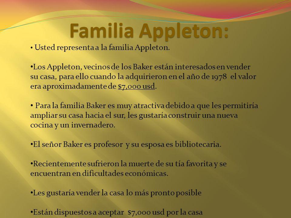 Familia Appleton: Usted representa a la familia Appleton. Los Appleton, vecinos de los Baker están interesados en vender su casa, para ello cuando la