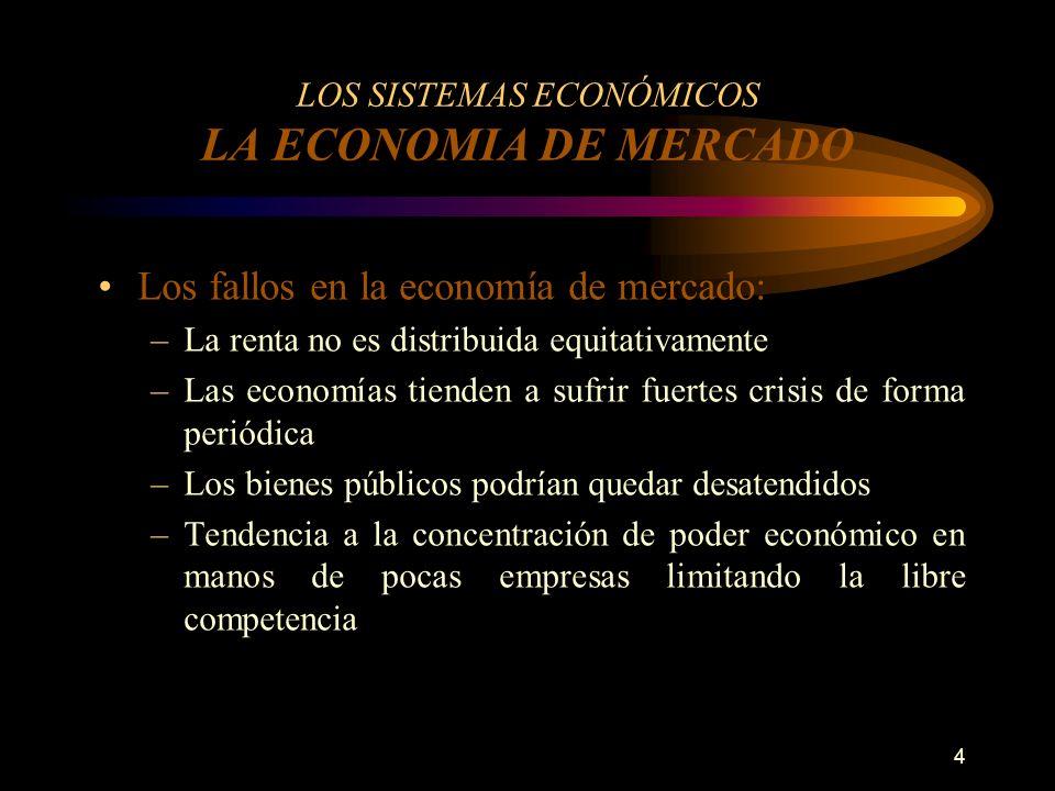4 LOS SISTEMAS ECONÓMICOS LA ECONOMIA DE MERCADO Los fallos en la economía de mercado: –La renta no es distribuida equitativamente –Las economías tien
