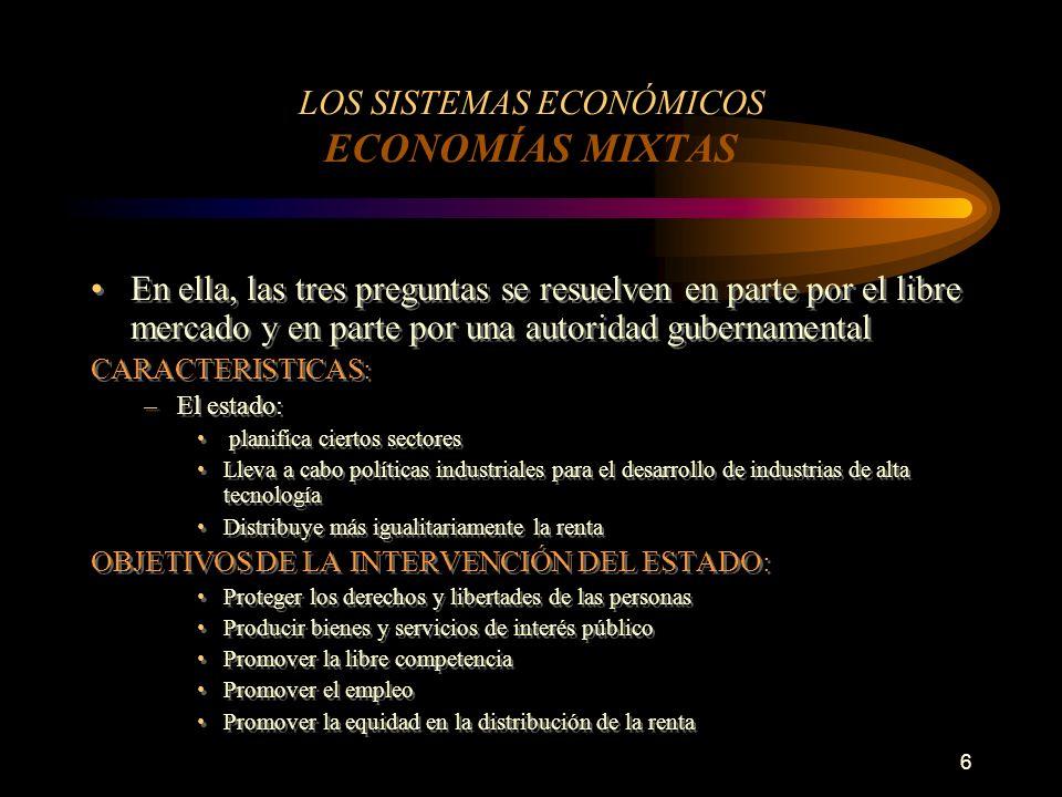 6 LOS SISTEMAS ECONÓMICOS ECONOMÍAS MIXTAS En ella, las tres preguntas se resuelven en parte por el libre mercado y en parte por una autoridad guberna