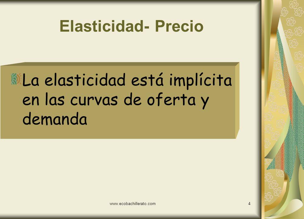 www.ecobachillerato.com3 Elasticidad-precio de la demanda Mide las reacciones del precio ante cambios de la cantidad demandada o las variaciones de la
