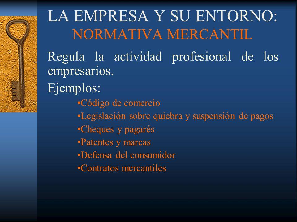 LA EMPRESA Y SU ENTORNO: NORMATIVA MERCANTIL Regula la actividad profesional de los empresarios. Ejemplos: Código de comercio Legislación sobre quiebr