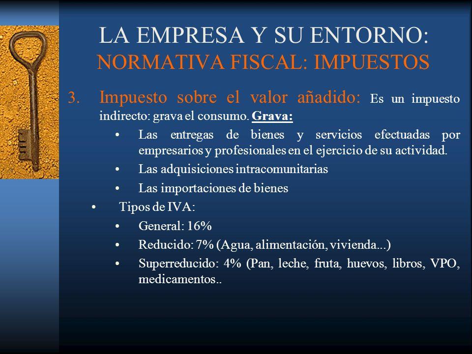 LA EMPRESA Y SU ENTORNO: NORMATIVA FISCAL: IMPUESTOS 3. Impuesto sobre el valor añadido: Es un impuesto indirecto: grava el consumo. Grava: Las entreg