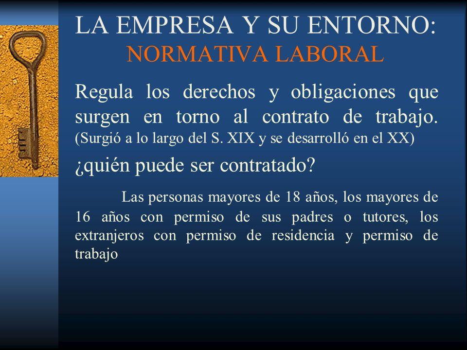 LA EMPRESA Y SU ENTORNO: NORMATIVA LABORAL Regula los derechos y obligaciones que surgen en torno al contrato de trabajo. (Surgió a lo largo del S. XI