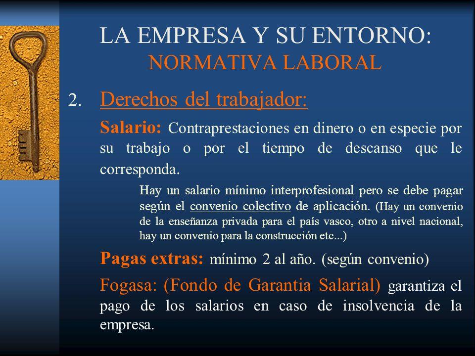 LA EMPRESA Y SU ENTORNO: NORMATIVA LABORAL 2. Derechos del trabajador: Salario: Contraprestaciones en dinero o en especie por su trabajo o por el tiem