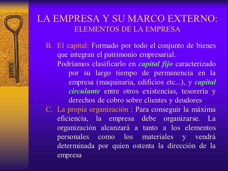 LA EMPRESA Y SU MARCO EXTERNO: ELEMENTOS DE LA EMPRESA B.El capital: Formado por todo el conjunto de bienes que integran el patrimonio empresarial. Po