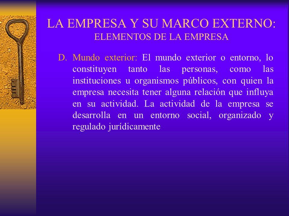 LA EMPRESA Y SU MARCO EXTERNO: ELEMENTOS DE LA EMPRESA D.Mundo exterior: El mundo exterior o entorno, lo constituyen tanto las personas, como las inst