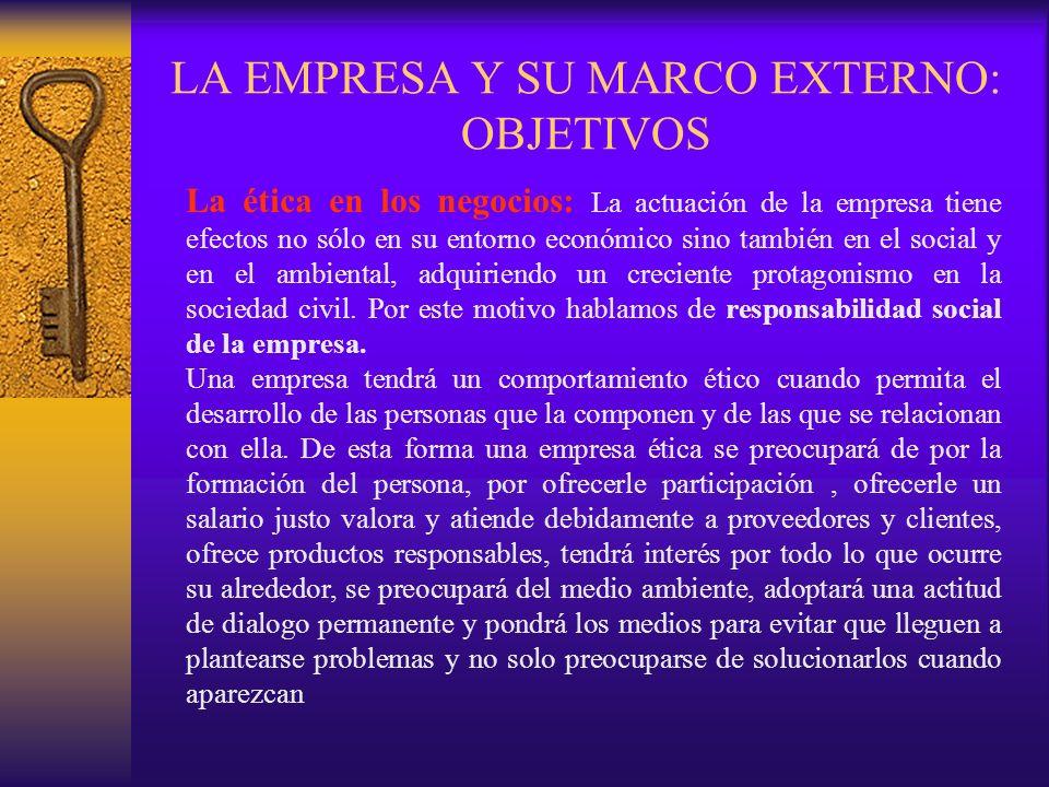 LA EMPRESA Y SU MARCO EXTERNO: OBJETIVOS La ética en los negocios: La actuación de la empresa tiene efectos no sólo en su entorno económico sino tambi