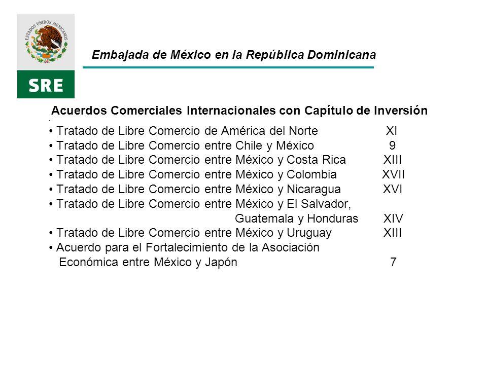 Embajada de México en la República Dominicana Principales cifras de comercio 2010 Comercio Total US$ 599,620 mmd Exportaciones US$ 298,138 mmd Importaciones US$ 301,482 mmd Balanza Comercial US$ -3,344 mmd