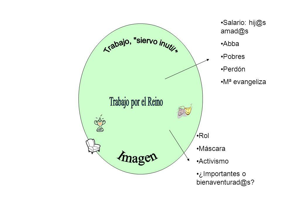 Salario: hij@s amad@s Abba Pobres Perdón Mª evangeliza Rol Máscara Activismo ¿Importantes o bienaventurad@s?