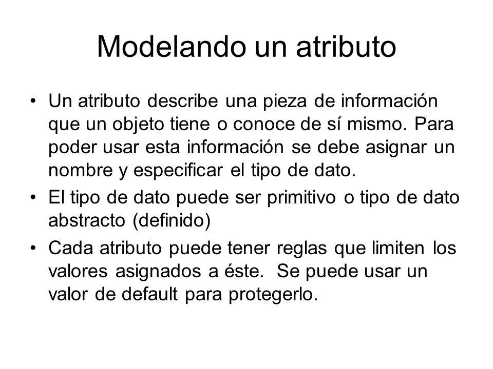 Modelando un atributo Un atributo describe una pieza de información que un objeto tiene o conoce de sí mismo. Para poder usar esta información se debe