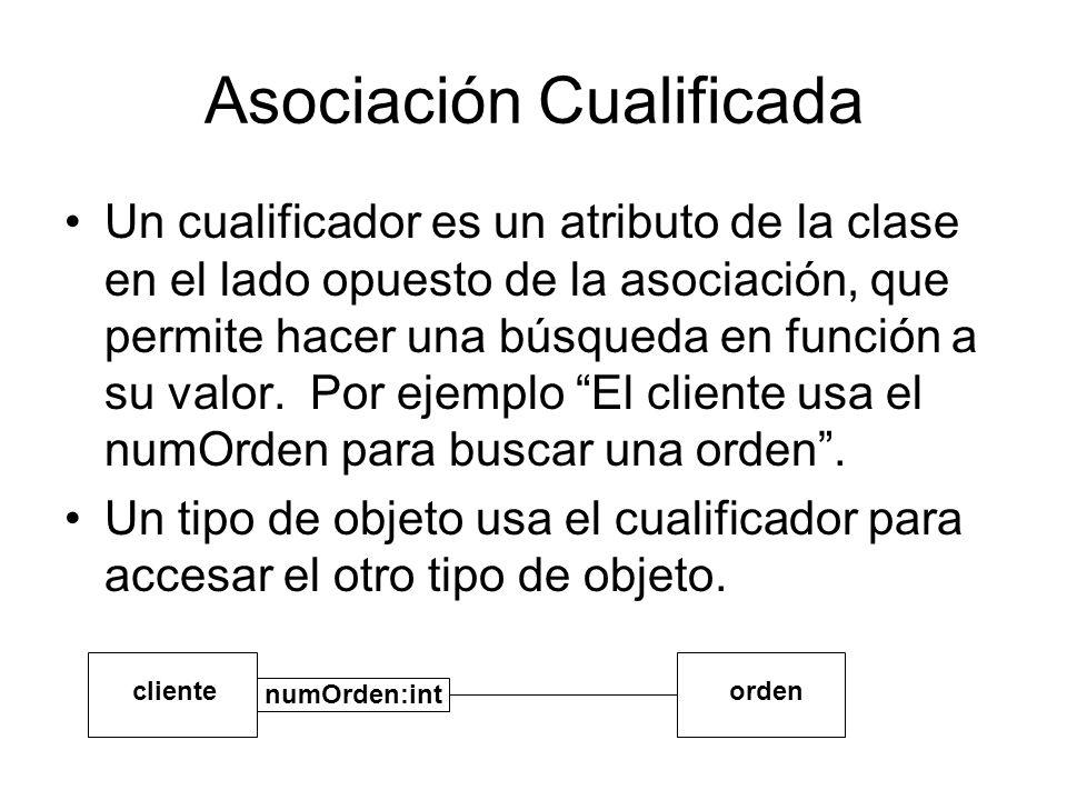 Asociación Cualificada Un cualificador es un atributo de la clase en el lado opuesto de la asociación, que permite hacer una búsqueda en función a su