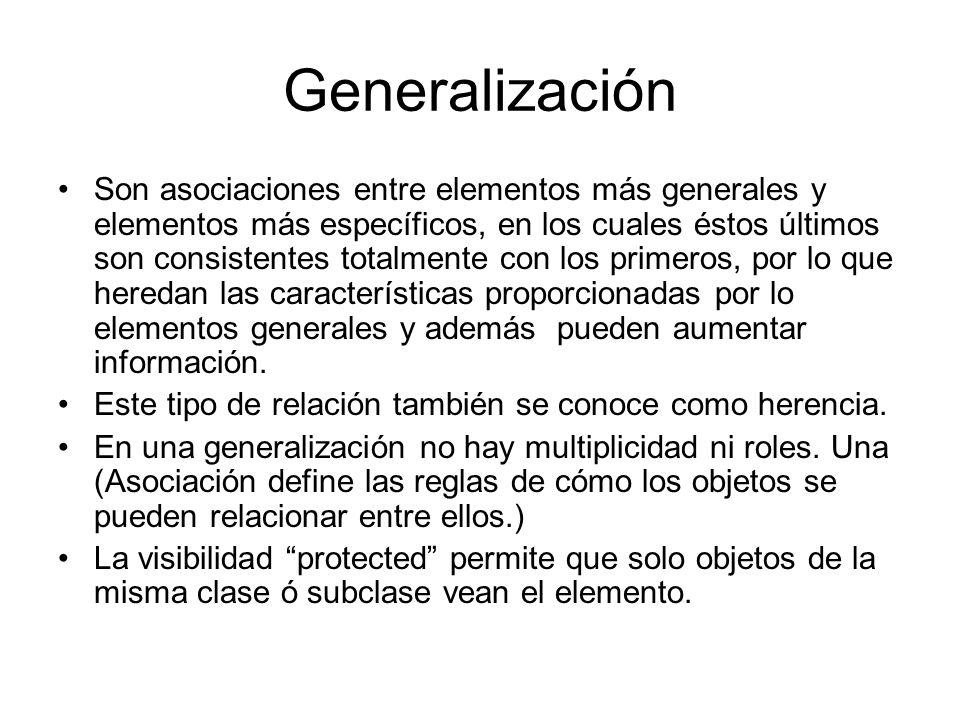 Generalización Son asociaciones entre elementos más generales y elementos más específicos, en los cuales éstos últimos son consistentes totalmente con