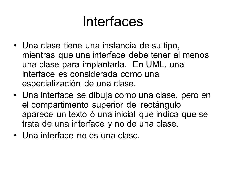 Interfaces Una clase tiene una instancia de su tipo, mientras que una interface debe tener al menos una clase para implantarla. En UML, una interface