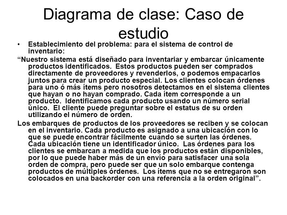 Diagrama de clase: Caso de estudio Establecimiento del problema: para el sistema de control de inventario: Nuestro sistema está diseñado para inventar
