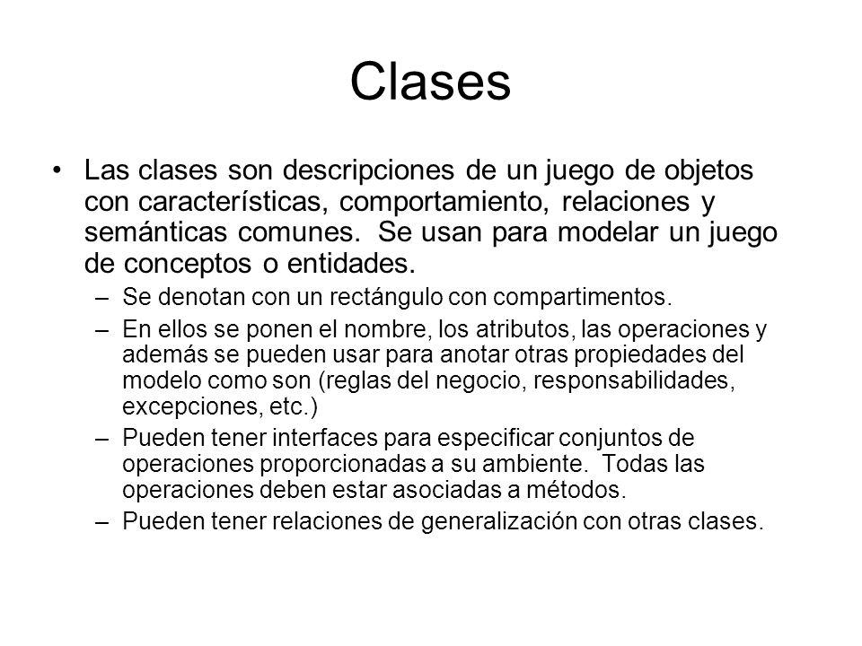 Clases Las clases son descripciones de un juego de objetos con características, comportamiento, relaciones y semánticas comunes. Se usan para modelar