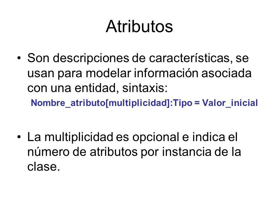 Atributos Son descripciones de características, se usan para modelar información asociada con una entidad, sintaxis: Nombre_atributo[multiplicidad]:Ti