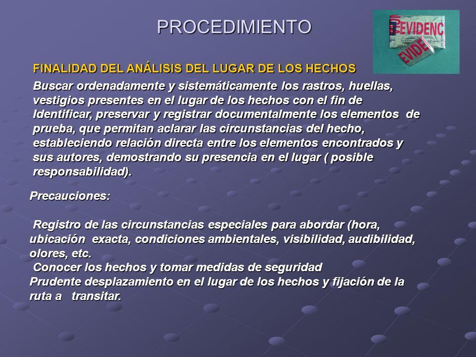 PROCEDIMIENTO FINALIDAD DEL ANÁLISIS DEL LUGAR DE LOS HECHOS Buscar ordenadamente y sistemáticamente los rastros, huellas, vestigios presentes en el l
