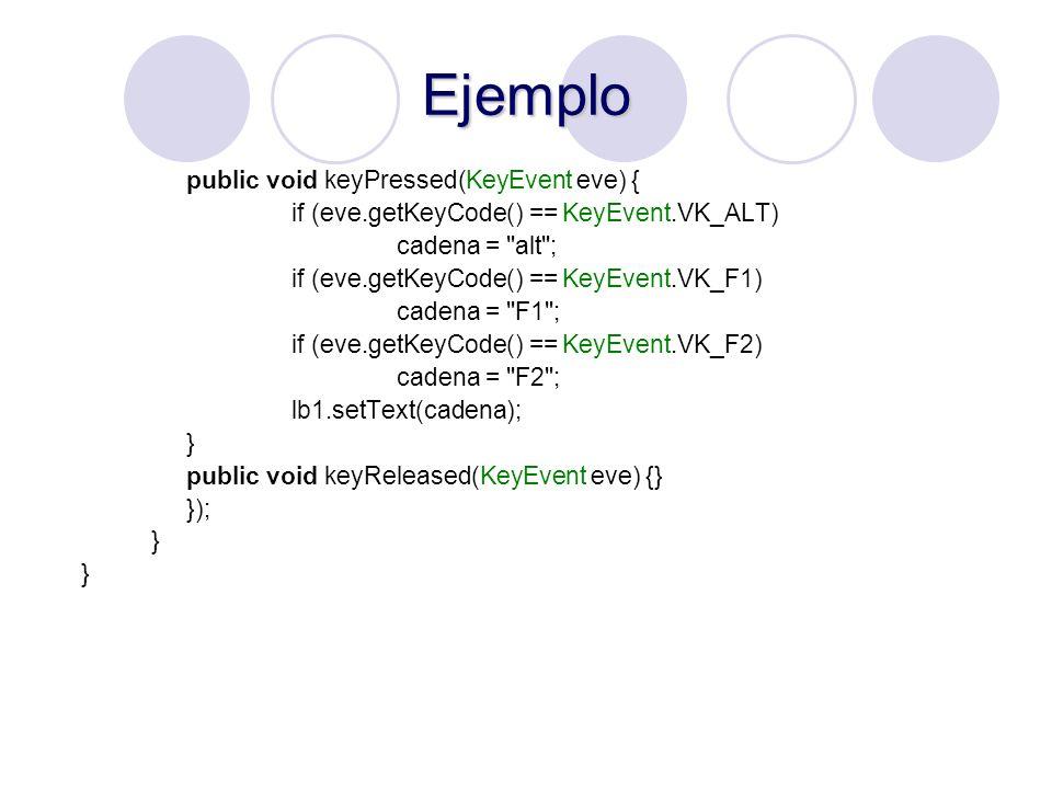 Ejemplo public void keyPressed(KeyEvent eve) { if (eve.getKeyCode() == KeyEvent.VK_ALT) cadena =