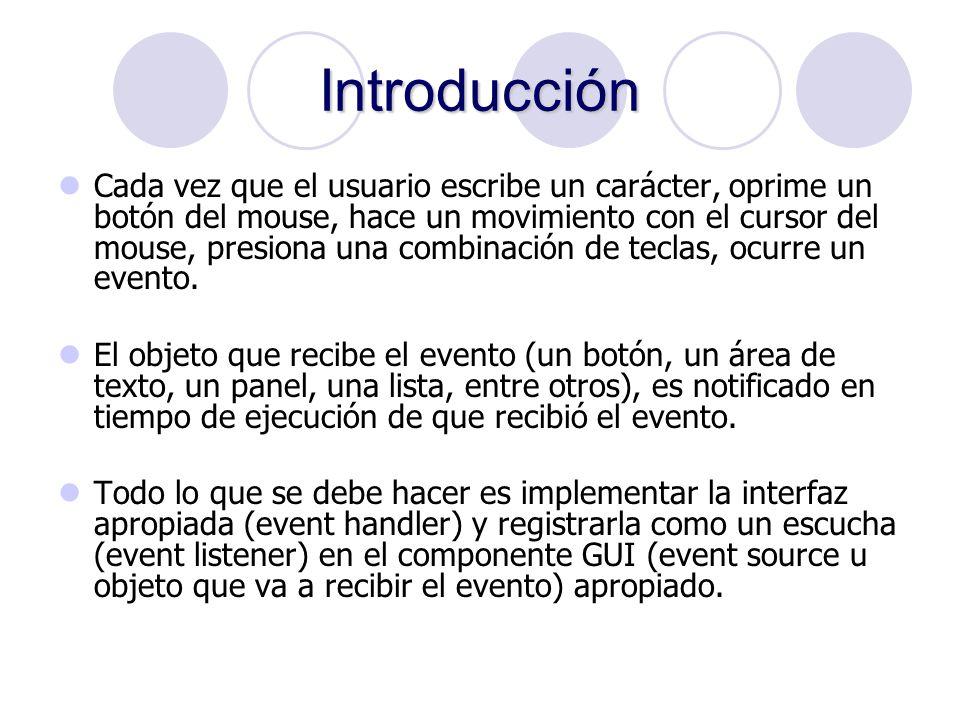 Tipos de Escuchadores Los eventos están agrupados de acuerdo a su naturaleza en los siguientes grupos: ActionListener: acciones sobre componentes.