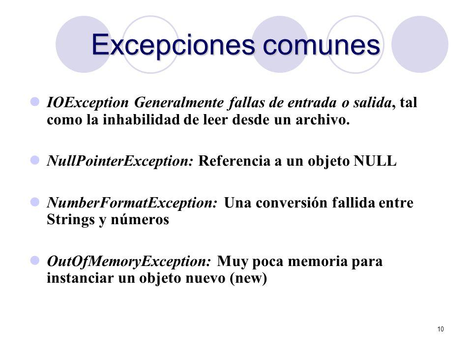 10 Excepciones comunes IOException Generalmente fallas de entrada o salida, tal como la inhabilidad de leer desde un archivo. NullPointerException: Re