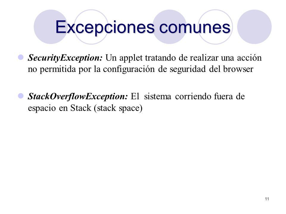 11 Excepciones comunes SecurityException: Un applet tratando de realizar una acción no permitida por la configuración de seguridad del browser StackOv