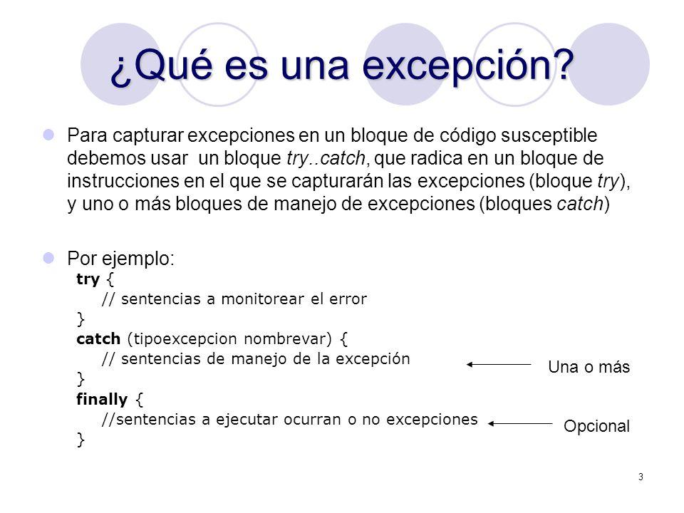 14 Excepciones NonRuntime Para librarnos del problema tenemos dos opciones: Capturar la excepción: public boolean abreArchivo() { try { new FileInputStream(archivo.txt); return true; } catch (IOException ioe) { return false; } O indicar en la declaración del método, que la excepción puede ser lanzada: public boolean abreArchivo() throws IOException { new FileInputStream(archivo.txt); return true; }