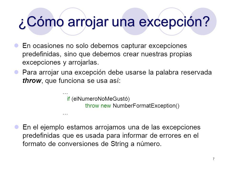 18 Excepciones comunes NullPointerException: Referencia a un objeto NULL NumberFormatException: Una conversión fallida entre Strings y números OutOfMemoryException: Muy poca memoria para instanciar un objeto nuevo (new) SecurityException: Un applet tratando de realizar una acción no permitida por la configuración de seguridad del browser