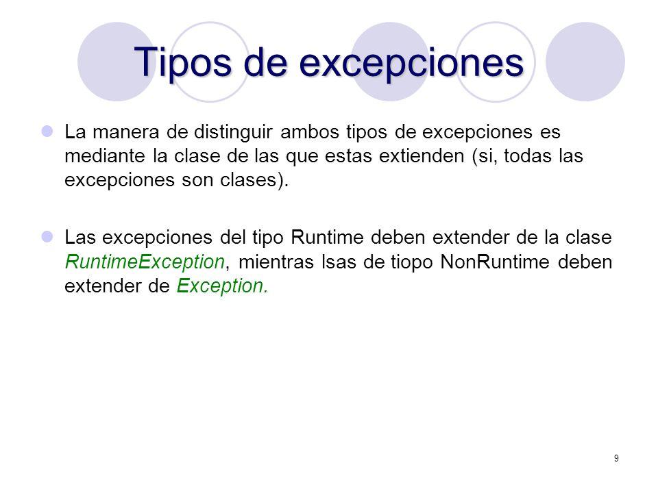 10 Excepciones comunes IOException Generalmente fallas de entrada o salida, tal como la inhabilidad de leer desde un archivo.
