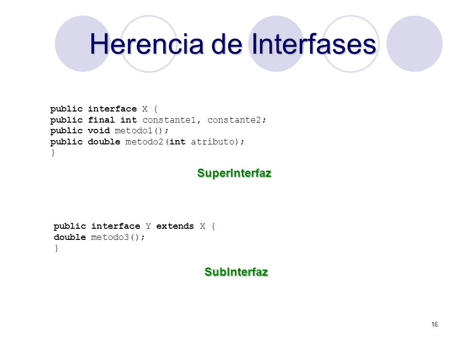 16 Herencia de Interfases public interface X { public final int constante1, constante2; public void metodo1(); public double metodo2(int atributo); } public interface Y extends X { double metodo3(); } SuperInterfaz SubInterfaz