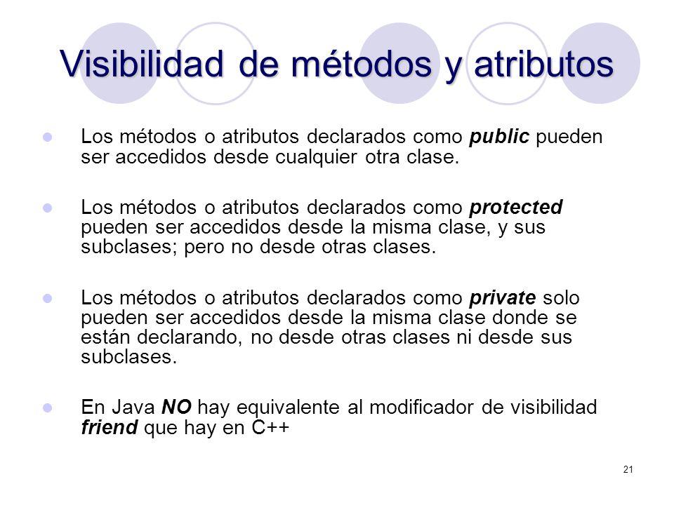 21 Visibilidad de métodos y atributos Los métodos o atributos declarados como public pueden ser accedidos desde cualquier otra clase.