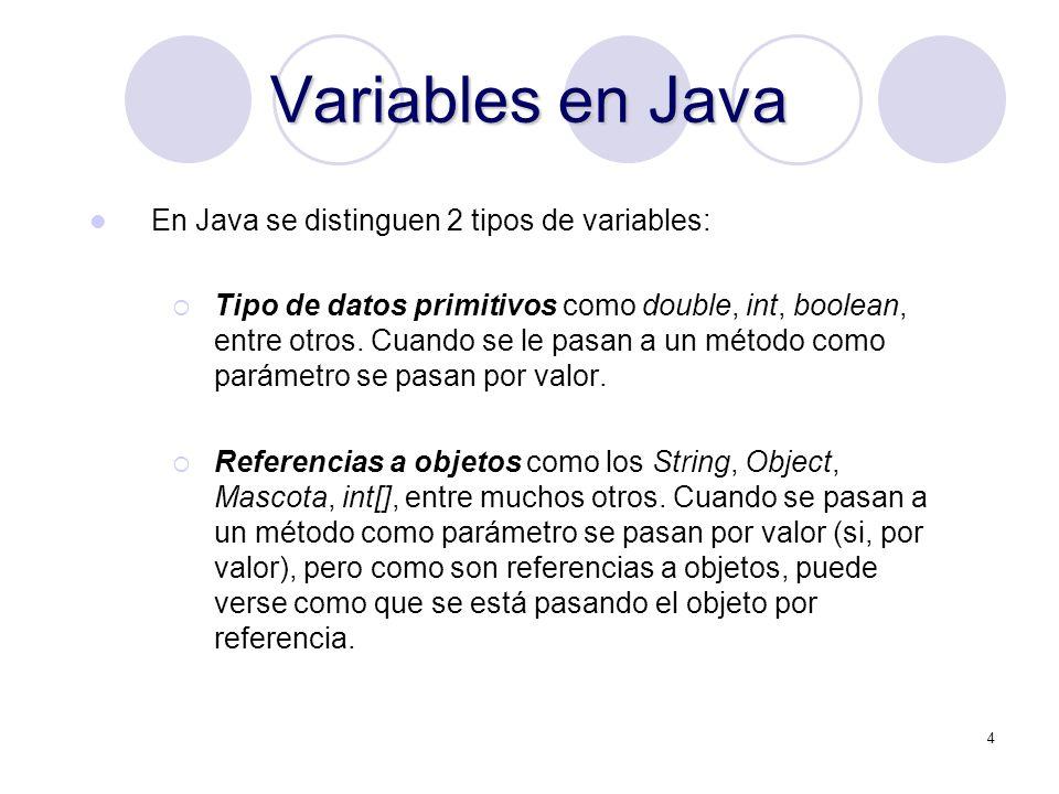 4 Variables en Java En Java se distinguen 2 tipos de variables: Tipo de datos primitivos como double, int, boolean, entre otros.