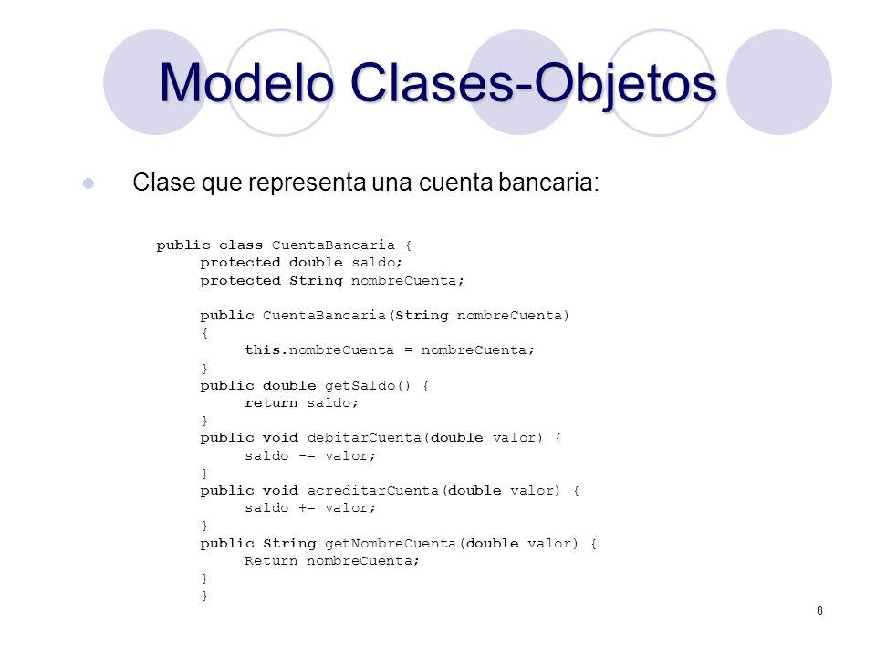 8 Modelo Clases-Objetos Clase que representa una cuenta bancaria: public class CuentaBancaria { protected double saldo; protected String nombreCuenta; public CuentaBancaria(String nombreCuenta) { this.nombreCuenta = nombreCuenta; } public double getSaldo() { return saldo; } public void debitarCuenta(double valor) { saldo -= valor; } public void acreditarCuenta(double valor) { saldo += valor; } public String getNombreCuenta(double valor) { Return nombreCuenta; }