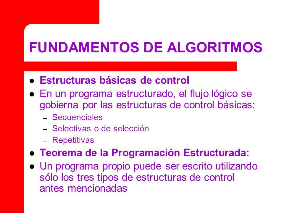 FUNDAMENTOS DE ALGORITMOS Estructuras básicas de control En un programa estructurado, el flujo lógico se gobierna por las estructuras de control básic