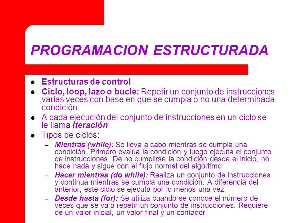 PROGRAMACION ESTRUCTURADA Estructuras de control Ciclo, loop, lazo o bucle: Repetir un conjunto de instrucciones varias veces con base en que se cumpl