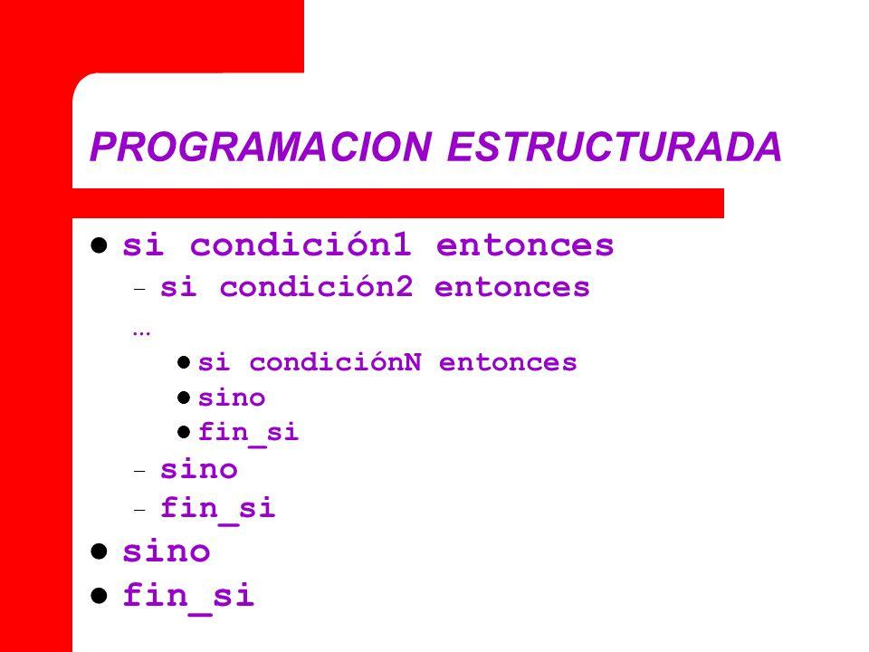 PROGRAMACION ESTRUCTURADA si condición1 entonces – si condición2 entonces … si condiciónN entonces sino fin_si – sino – fin_si sino fin_si