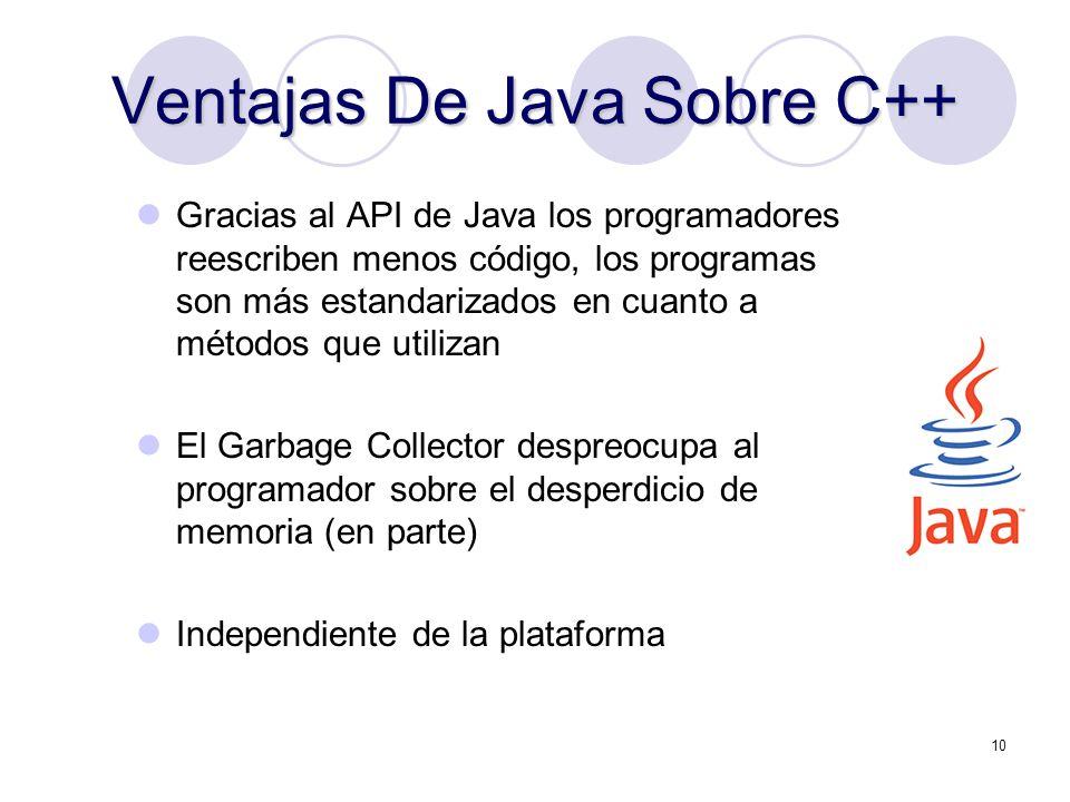 10 Ventajas De Java Sobre C++ Gracias al API de Java los programadores reescriben menos código, los programas son más estandarizados en cuanto a métod