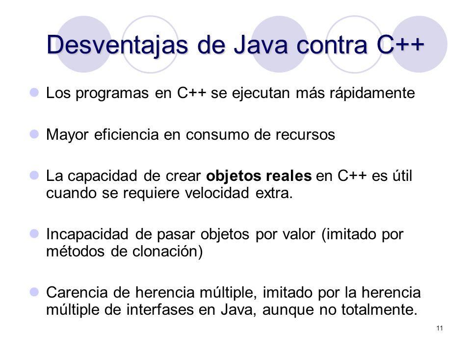 11 Desventajas de Java contra C++ Los programas en C++ se ejecutan más rápidamente Mayor eficiencia en consumo de recursos La capacidad de crear objet