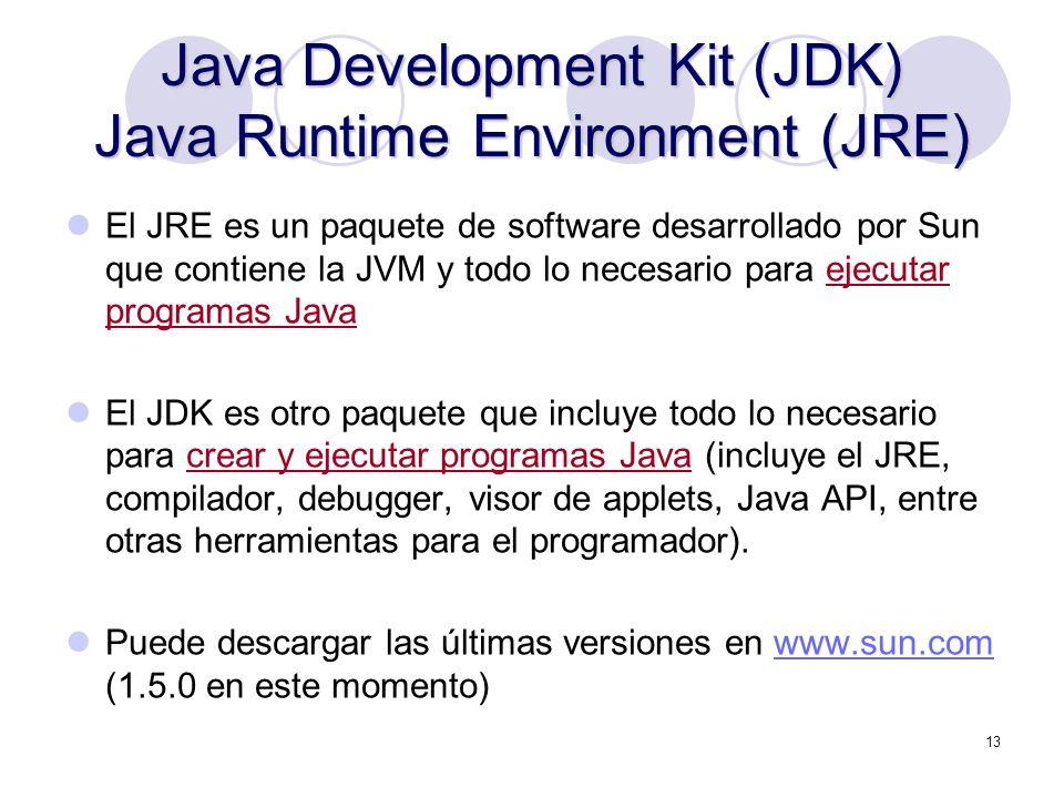 13 Java Development Kit (JDK) Java Runtime Environment (JRE) El JRE es un paquete de software desarrollado por Sun que contiene la JVM y todo lo neces