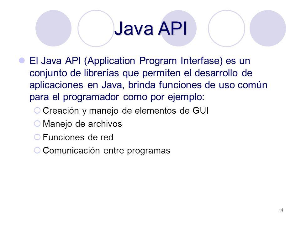 14 Java API El Java API (Application Program Interfase) es un conjunto de librerías que permiten el desarrollo de aplicaciones en Java, brinda funcion
