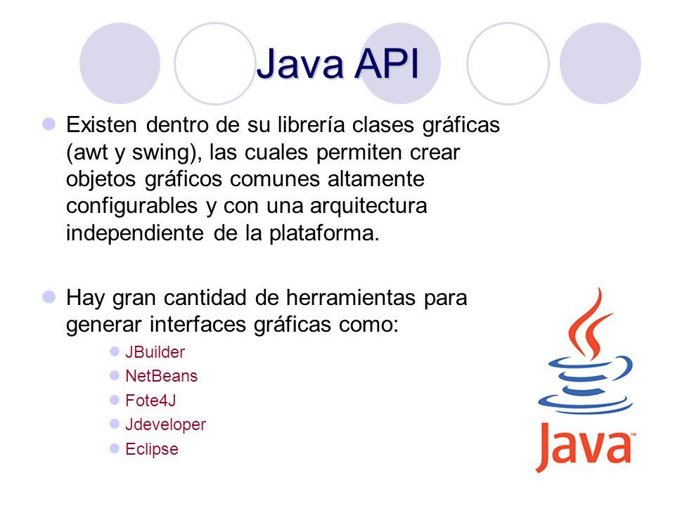 15 Java API Existen dentro de su librería clases gráficas (awt y swing), las cuales permiten crear objetos gráficos comunes altamente configurables y