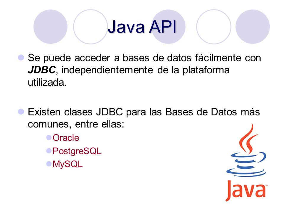 16 Java API Se puede acceder a bases de datos fácilmente con JDBC, independientemente de la plataforma utilizada. Existen clases JDBC para las Bases d