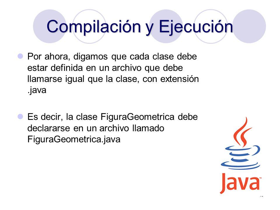 18 Compilación y Ejecución Por ahora, digamos que cada clase debe estar definida en un archivo que debe llamarse igual que la clase, con extensión.jav