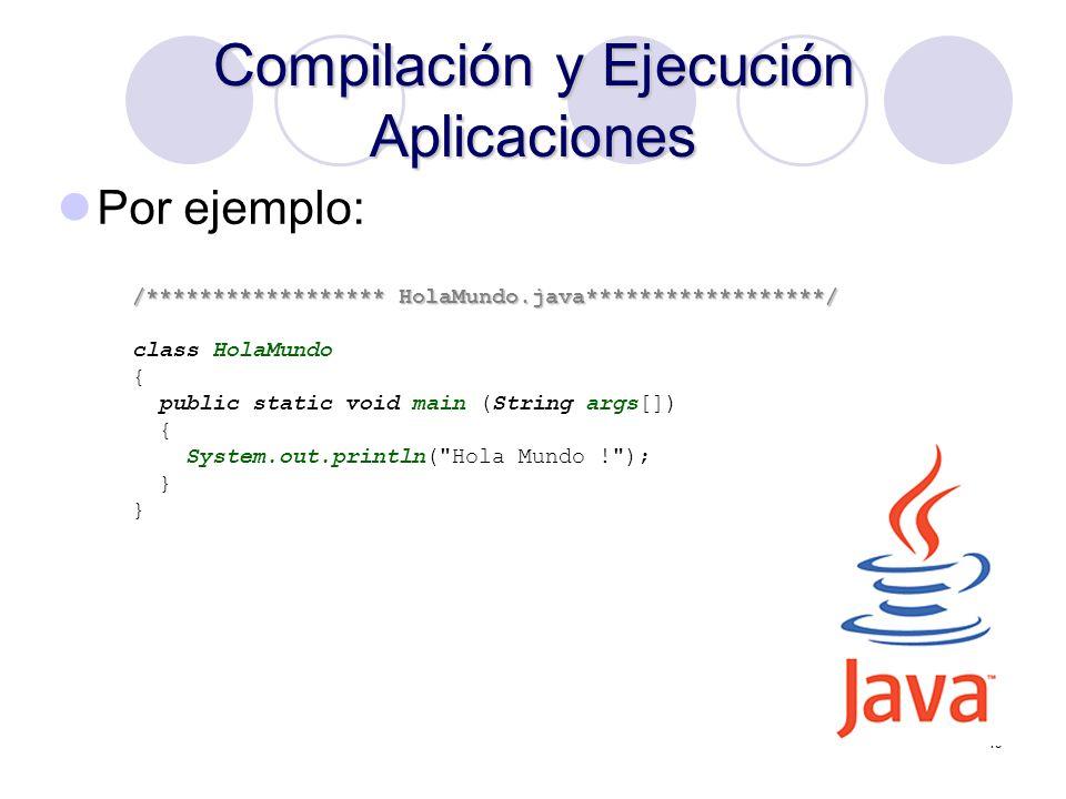 19 Compilación y Ejecución Aplicaciones /****************** HolaMundo.java******************/ class HolaMundo { public static void main (String args[]