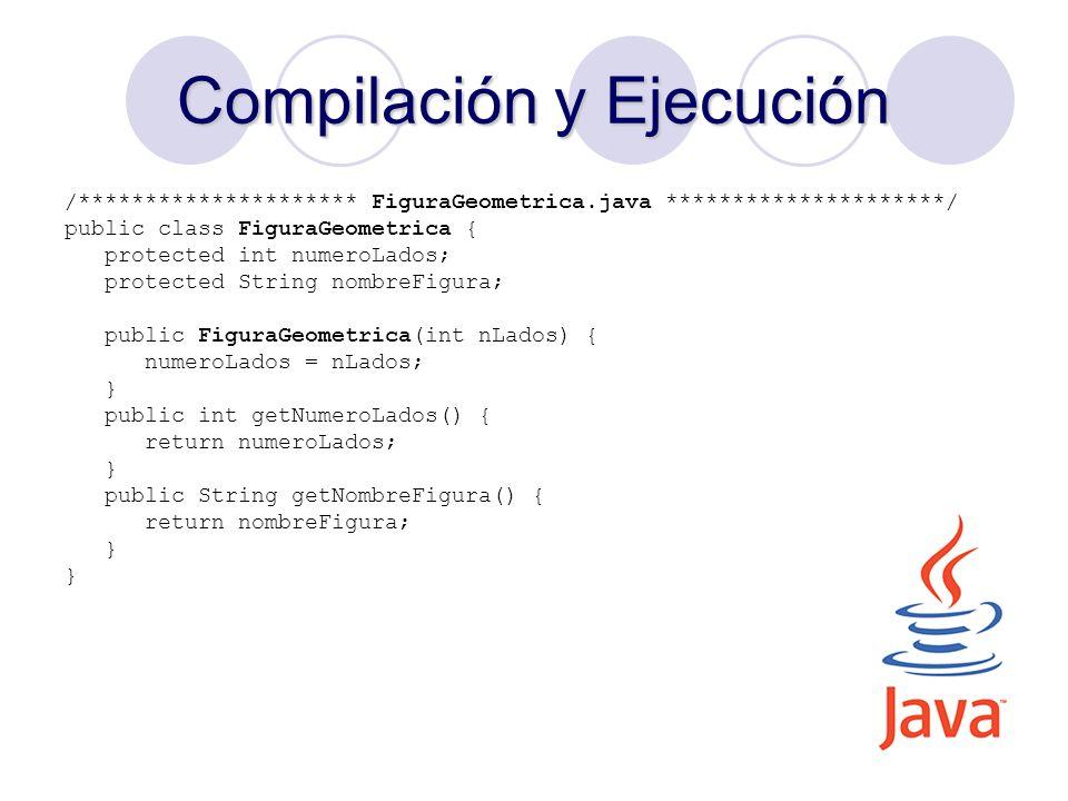 21 Compilación y Ejecución /********************* FiguraGeometrica.java *********************/ public class FiguraGeometrica { protected int numeroLad