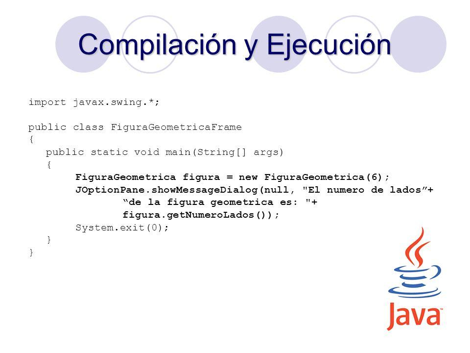 23 Compilación y Ejecución import javax.swing.*; public class FiguraGeometricaFrame { public static void main(String[] args) { FiguraGeometrica figura