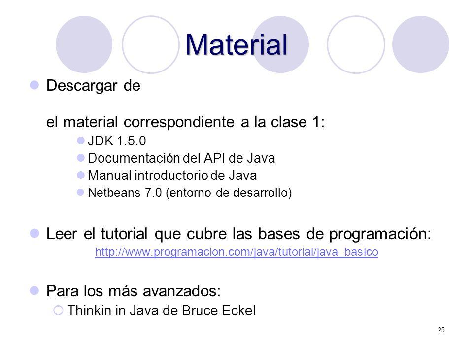 25 Material Descargar de el material correspondiente a la clase 1: JDK 1.5.0 Documentación del API de Java Manual introductorio de Java Netbeans 7.0 (