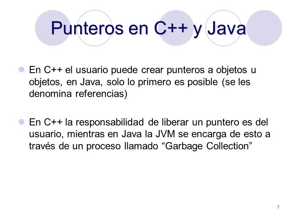 7 Punteros en C++ y Java En C++ el usuario puede crear punteros a objetos u objetos, en Java, solo lo primero es posible (se les denomina referencias)