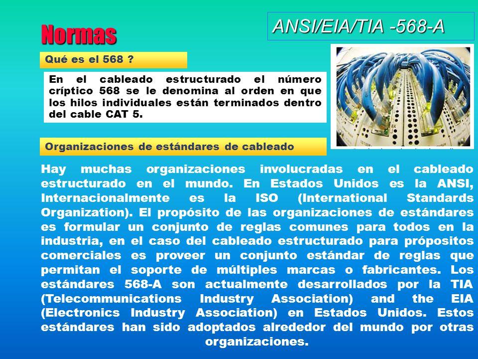 Normas ANSI/EIA/TIA -568-A Qué es el 568 ? En el cableado estructurado el número críptico 568 se le denomina al orden en que los hilos individuales es