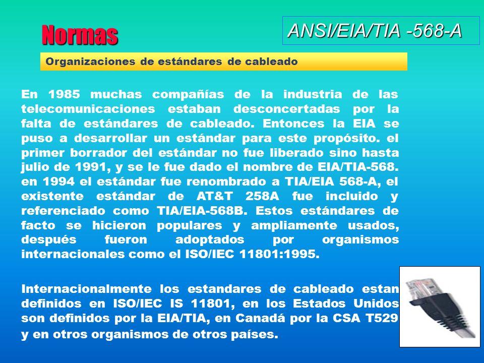 Normas ANSI/EIA/TIA -568-A En 1985 muchas compañías de la industria de las telecomunicaciones estaban desconcertadas por la falta de estándares de cableado.